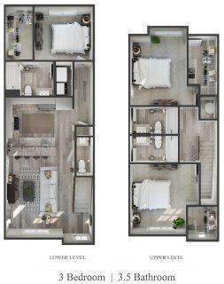 3 Bed / 3½ Bath / 1,431 sq ft / Admin Fee: $0 / Rent + Utilities: $695 per bedroom