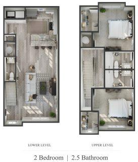 2 Bed / 2½ Bath / 1,138 sq ft / Availability: Please Call / Admin Fee: $100 / Rent: $895 per bedroom